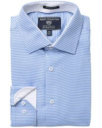 Report Collection Houndstooth Print Stretch Modern Fit Dress Shirt - Blue