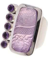 Stephen Dweck - Sterling Silver Amethyst & Mother Of Pearl Carved Dragon Ring - Size 7 - Lyst