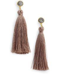 Gorjana - 18k Yellow Gold Plated Astoria Druzy Tassel Drop Earrings - Lyst