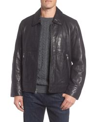 Andrew Marc - Morrison Spread Collar Leather Jacket - Lyst
