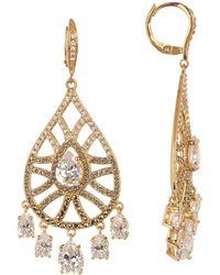 Judith Jack - Gold Plated Sterling Silver Swarovski Marcasite & Crystal Shaky Pave Teardrop Earrings - Lyst