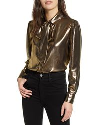 7 For All Mankind 7 For All Mankind Metallic Tie Neck Blouse