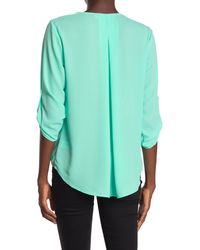 Lush Surplice Draped High/low Hem Blouse - Green