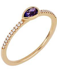 Bony Levy - 18k Rose Gold Diamond & Amethyst Stack Ring - Lyst