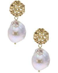 Saachi 25.4mm Baroque Pearl Drop Garden Earrings - Metallic
