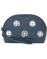 Kate Spade Leather Cameron Flower Applique Cosmetic Case - Blue
