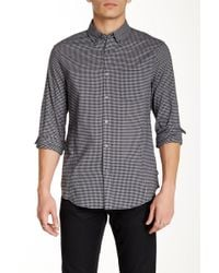 John Varvatos - Gingham Long Sleeve Roll Up Trim Fit Shirt - Lyst
