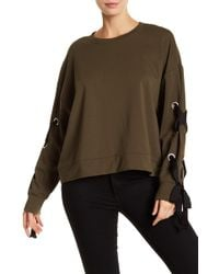 Two By Vince Camuto - French Terry Lace-up Long Sleeve Sweater - Lyst