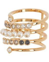 Swarovski Gold-plated Coil Pave Crystal & Imitation Pearl Ring - Metallic