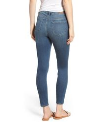 Articles of Society Heather High Rise Ripped Crop Skinny Jeans - Blue