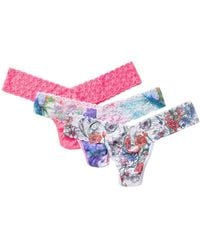 Hanky Panky Low Rise Thong - Pack Of 3 - Pink