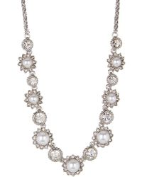 Marchesa - Faux Pearl & Crystal Frontal Necklace - Lyst