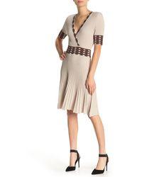 525 America Surplice Neck Pleated Dress - Natural
