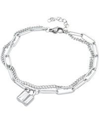 Adornia - Stainless Steel Padlock Mixed Chain Bracelet In Silver At Nordstrom Rack - Lyst