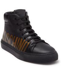 Moschino Logo Print High Top Sneaker - Black