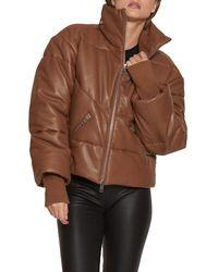 Walter Baker Edwina Leather Puffer Jacket - Brown