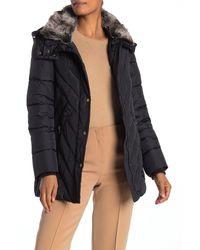 London Fog Faux Fur Trim Hooded Zip Puffer Jacket - Blue