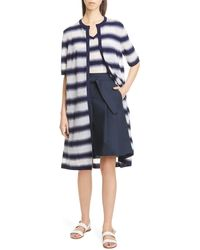 Lafayette 148 New York Sheer Stripe Button Front Dust - Blue