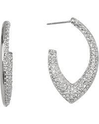 Jenny Packham - Pave Crystal 31mm Open Hoop Earrings - Lyst