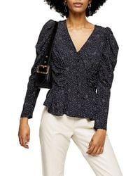 TOPSHOP Black And White Star Puff Sleeve Blouse