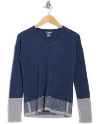 Griffen Cashmere Colorblock Stripe V-neck Long Sleeve Cashmere Sweater - Blue