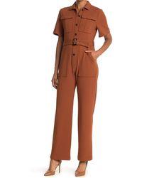 Donna Morgan Short Sleeve Straight Leg Utility Jumpsuit - Brown