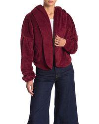 FAVLUX Stella Faux Fur Crop Jacket - Red