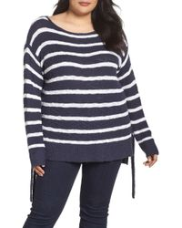 Caslon - Tunic Side Tie Striped Sweater (plus Size) - Lyst