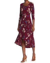West Kei Floral Print High/low Hem Dress - Red