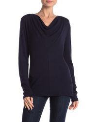 James Perse - Cowl Neck Long Sleeve Shirt - Lyst