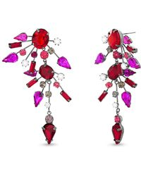 Steve Madden - Rhinestone & Imitation Pearl Cluster Drop Earrings - Lyst
