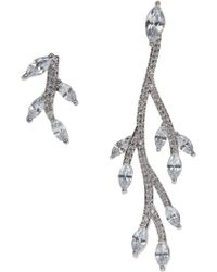 CZ by Kenneth Jay Lane | Mismatched Cz Vine Earrings | Lyst