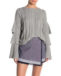 Endless Rose Ruffled Layer Sleeve Cable Knit Sweater - Gray