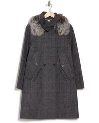 SOIA & KYO Genuine Fox Fur Collar Plaid Wool Coat - Black