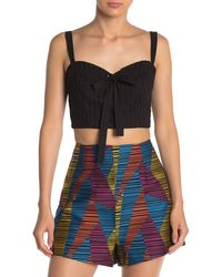BCBGMAXAZRIA Lace-up Bustier Cropped Top - Black