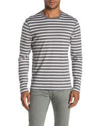 Vince Jersey Striped Long Sleeve T-shirt - Gray