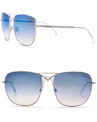 Roberto Cavalli - 59mm Metal Square Aviator Sunglasses - Lyst