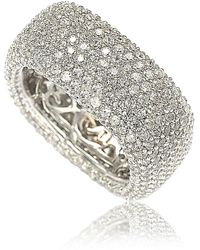 Suzy Levian Sterling Silver White Cz Square Eternity Band Ring