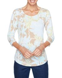 Ruby Rd. Bold Floral Textured Puff Printed Top - Blue