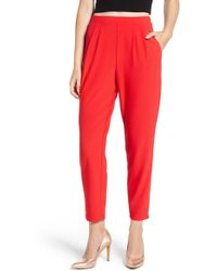 Leith Pleat Front Pants - Red