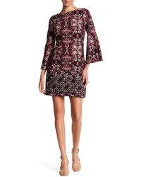 Vince Camuto - Printed Flare Sleeve Dress - Lyst