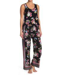 Kensie Floral Print Drawstring Pajama Pants - Black