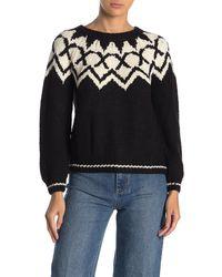 Velvet By Graham & Spencer Long Sleeve Crew Neck Sweater - Black