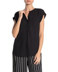 Pleione - Short Sleeve Placket Front Pleated Back Blouse - Lyst