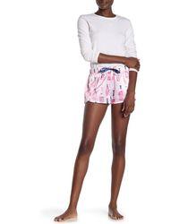 Munki Munki Rose Bottle Print Satin Pajama Shorts - Pink