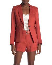 Veronica Beard Baltazar Linen Blend Dickey Jacket - Red