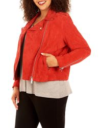 f816155a703 Lyst - Rebel Wilson X Angels Suede Moto Jacket (plus Size) in Blue