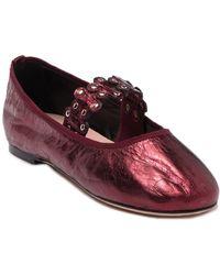 RED Valentino Valentino Garavani Studded Metallic Leather Ballet Flat - Purple