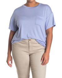 Lush Crew Neck Short Sleeve Pocket T-shirt - Blue