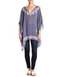 Roffe Accessories - Embroidered Front Tie Pullover Kimono - Lyst